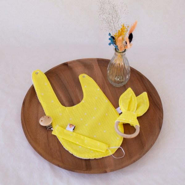 geboortepakket 1 geel geo bijtring bavet slab tuttenkoord speenketting