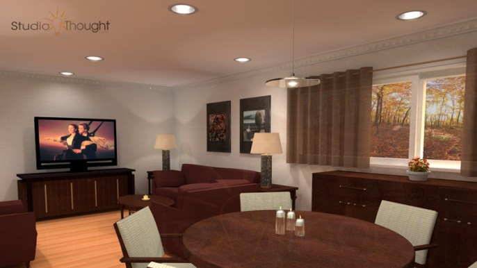 Living room interior with HDTV, curtains, and lamps
