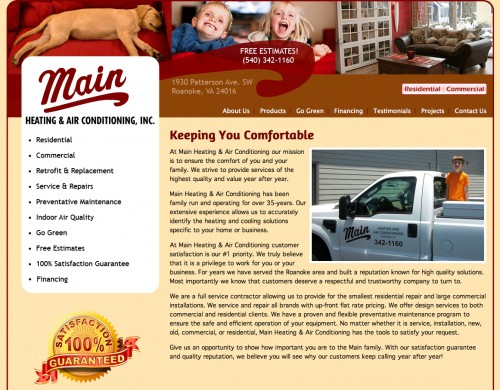 Main Heating and Air Conditioning homepage