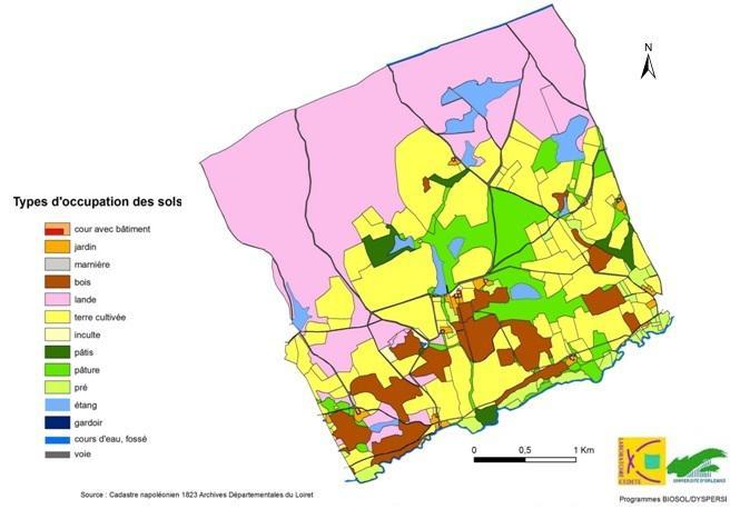 Occupation du sol dans le secteur nord-ouest de la commune de Ligny le Ribault en 1823.