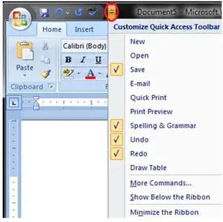 Quick Access Tool Bar