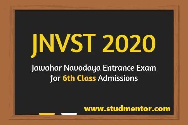 JNVST class 6 Navodaya admission 2020-21