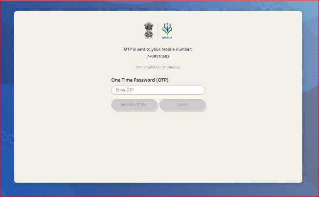 Enter One Time Password (OTP)