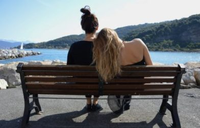 Friends sitting on a bench