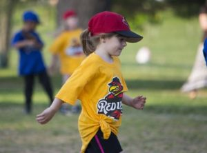 Young girl playing sports
