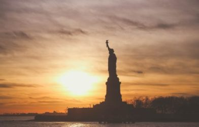 Statue of Liberty in sunset