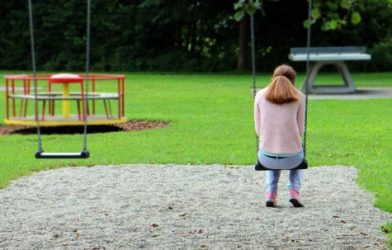 Girl or woman alone on swing