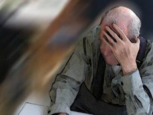 Older man with Alzheimer's disease or dementia