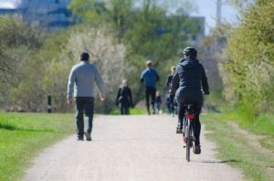 People walking, jogging, biking on trail