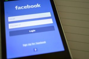 Facebook app on a mobile phone