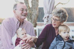 Elderly couple with kids