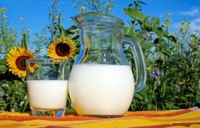 Milk jar and glass