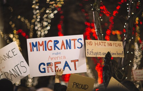 """""""Immigrants make America great"""" poster"""