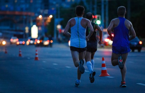 People jogging and exercising at night