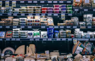 Refrigerated packaged goods at grocery store