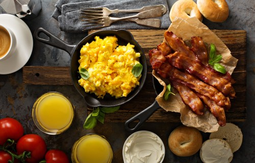 Big breakfast with bacon and eggs