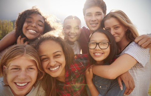 Group of teen friends happy
