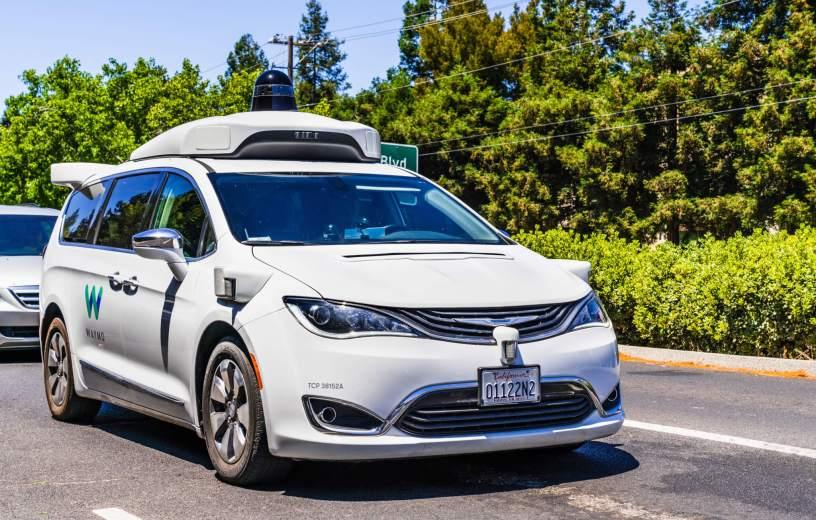 Waymo self-driving car testing on California road