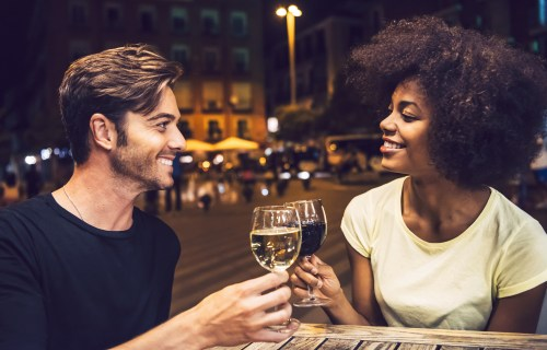 Couple drinking wine on a date