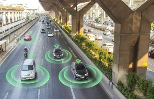 Smart car computer technology on highway