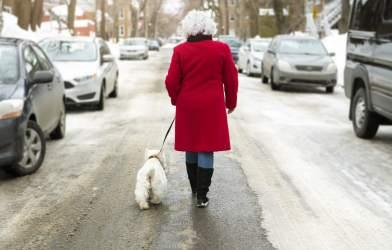 Senior woman walking dog in snow