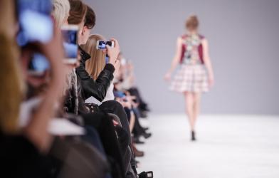 Fashion model walking on runway