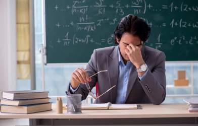 Stressed, tired teacher