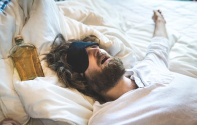 Man passed out from drinking, hungover
