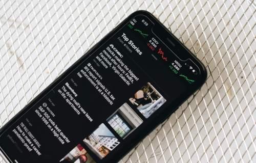 News headlines on smartphone