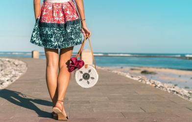 Woman wearing mini skirt
