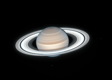 A photograph of Saturn taken from the Hubble Space Telescope