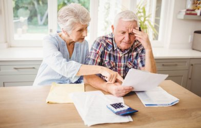 Older couple worried, stressed about their bills