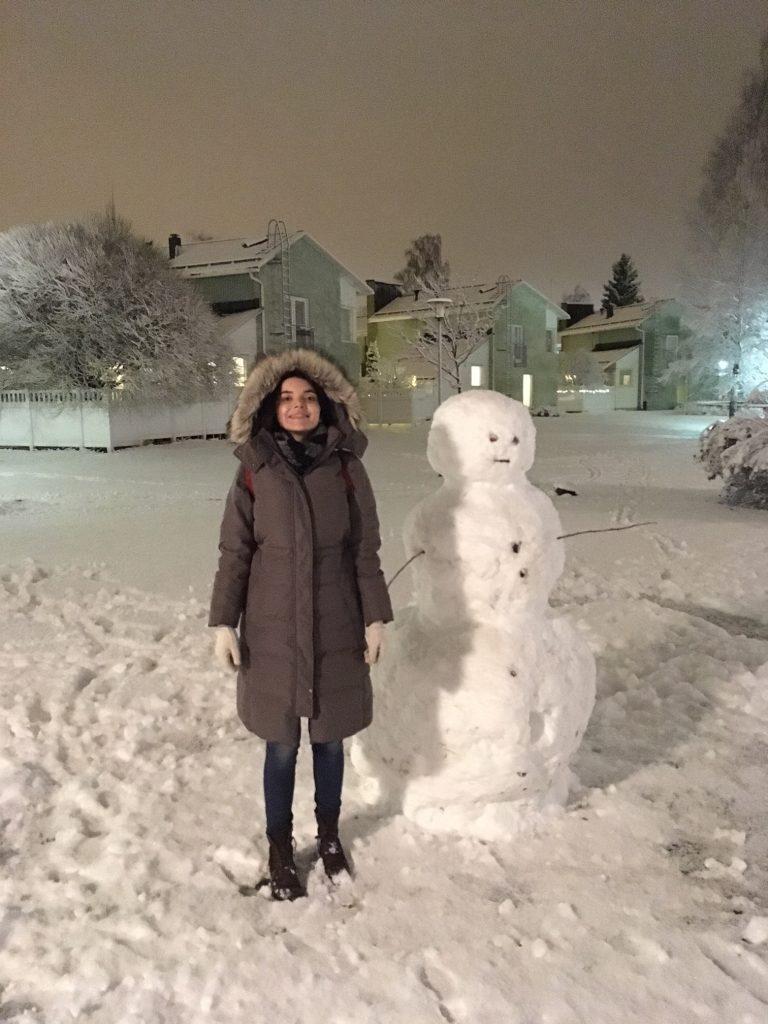 Building snowmen in Finland