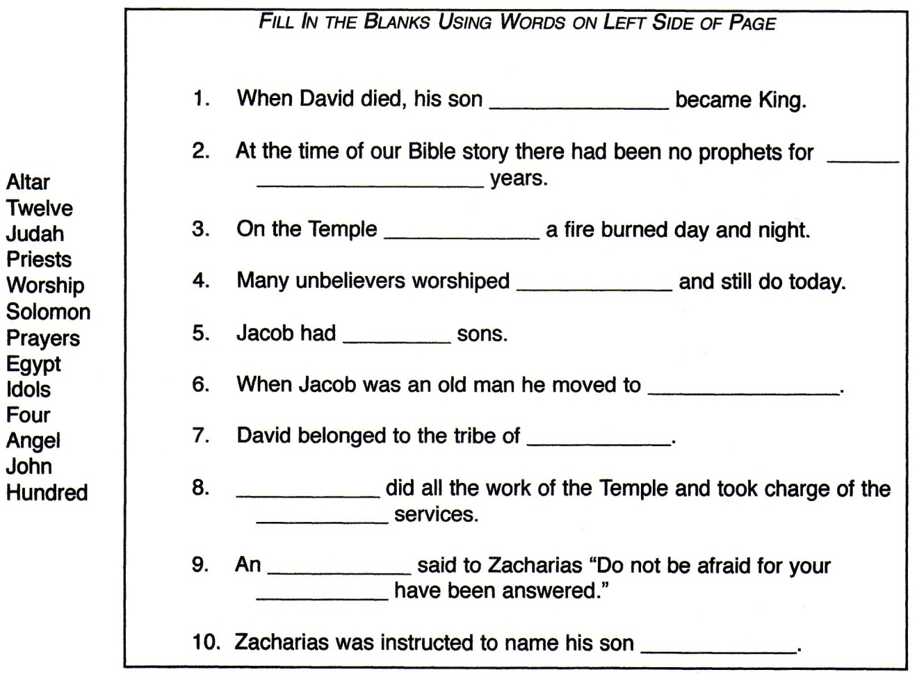 Fill In The Blank Story Worksheets