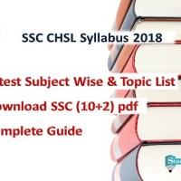 SSC CHSL Syllabus 2018 Pdf Download (10+2) Subject Wise Topics List