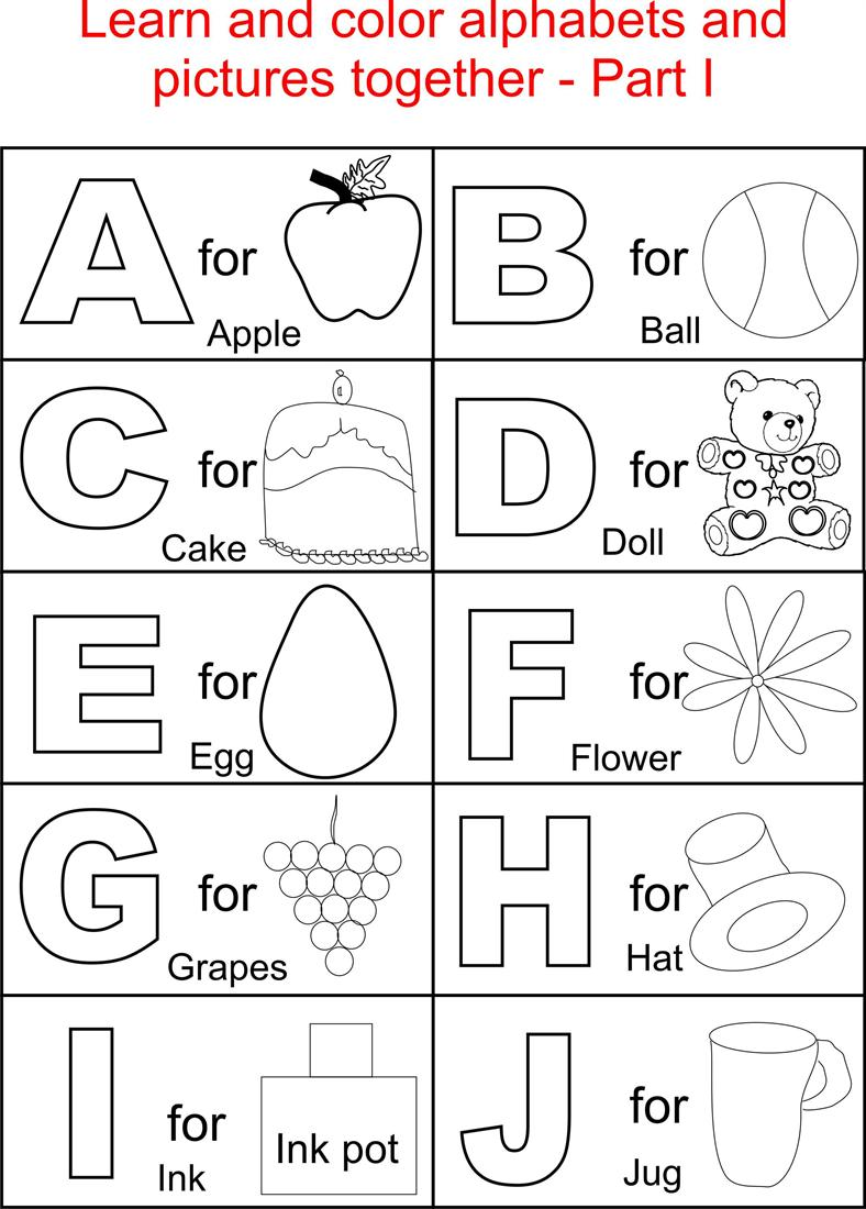 alphabets pages for kids