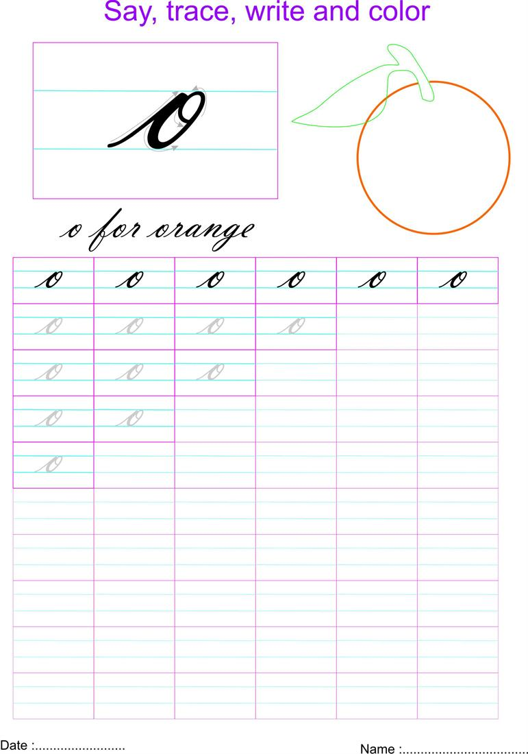 Cursive Small Letter O Worksheet