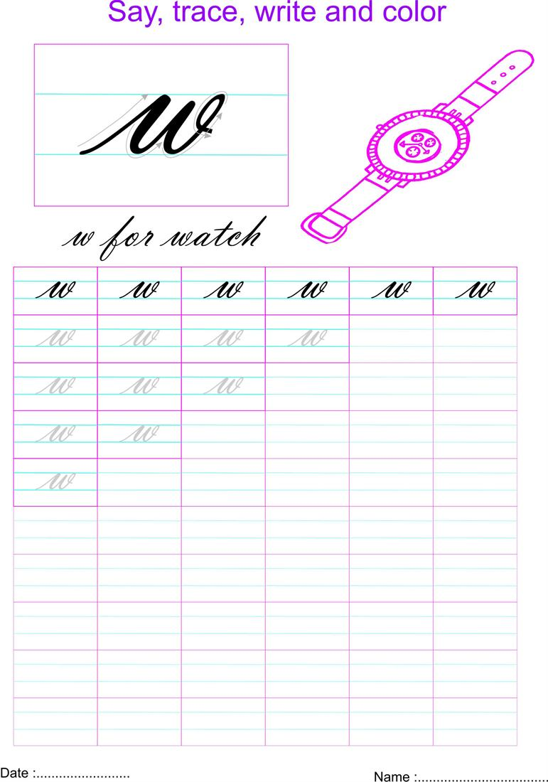 Cursive Small Letter W Worksheet