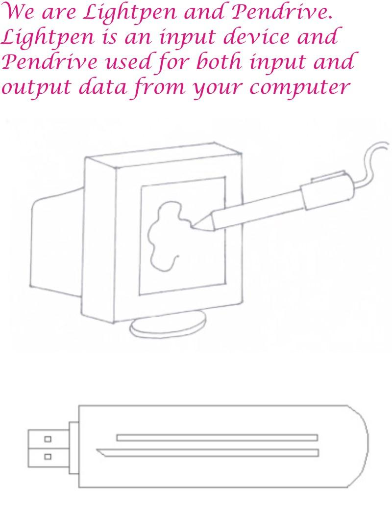 Lightpen Amp Pendrive Coloring Page