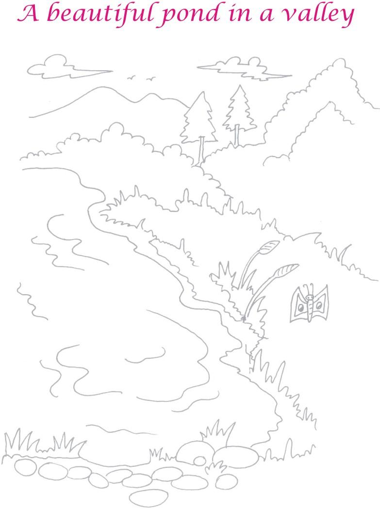 Scenery Pond In Valley Coloring Page