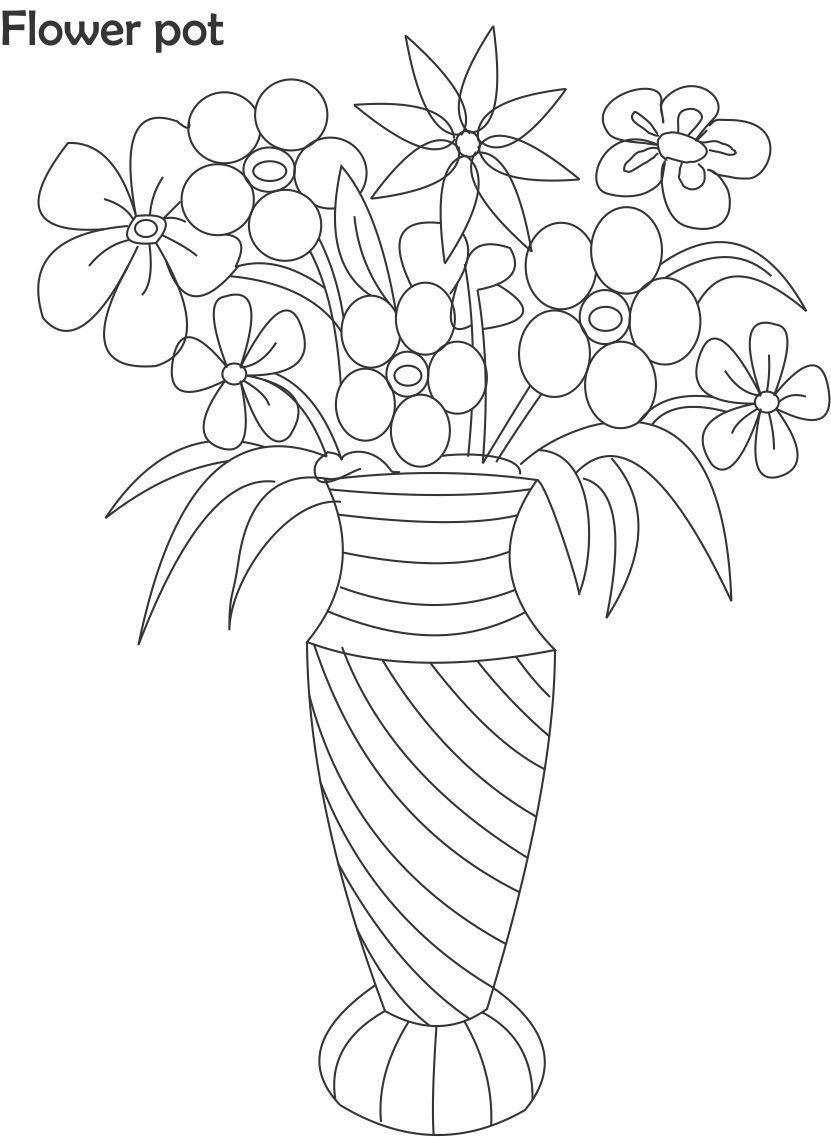 pics photos flower pot coloring pages
