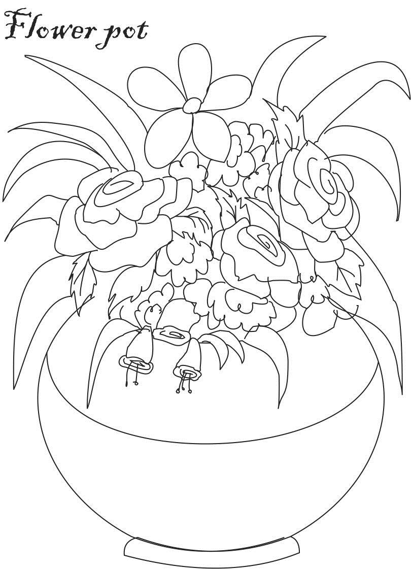 flower pot coloring printable page for kids 7 by studyvillage com