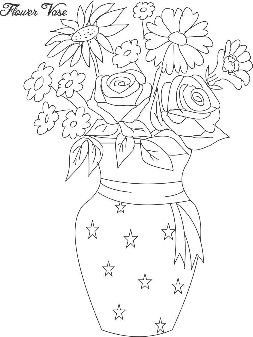 flower pot with flowers colouring pages