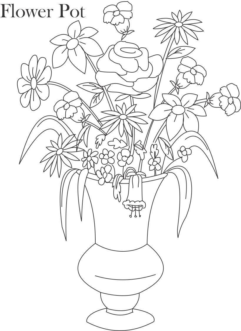 flower pot coloring printable page for kids 14 flower pot