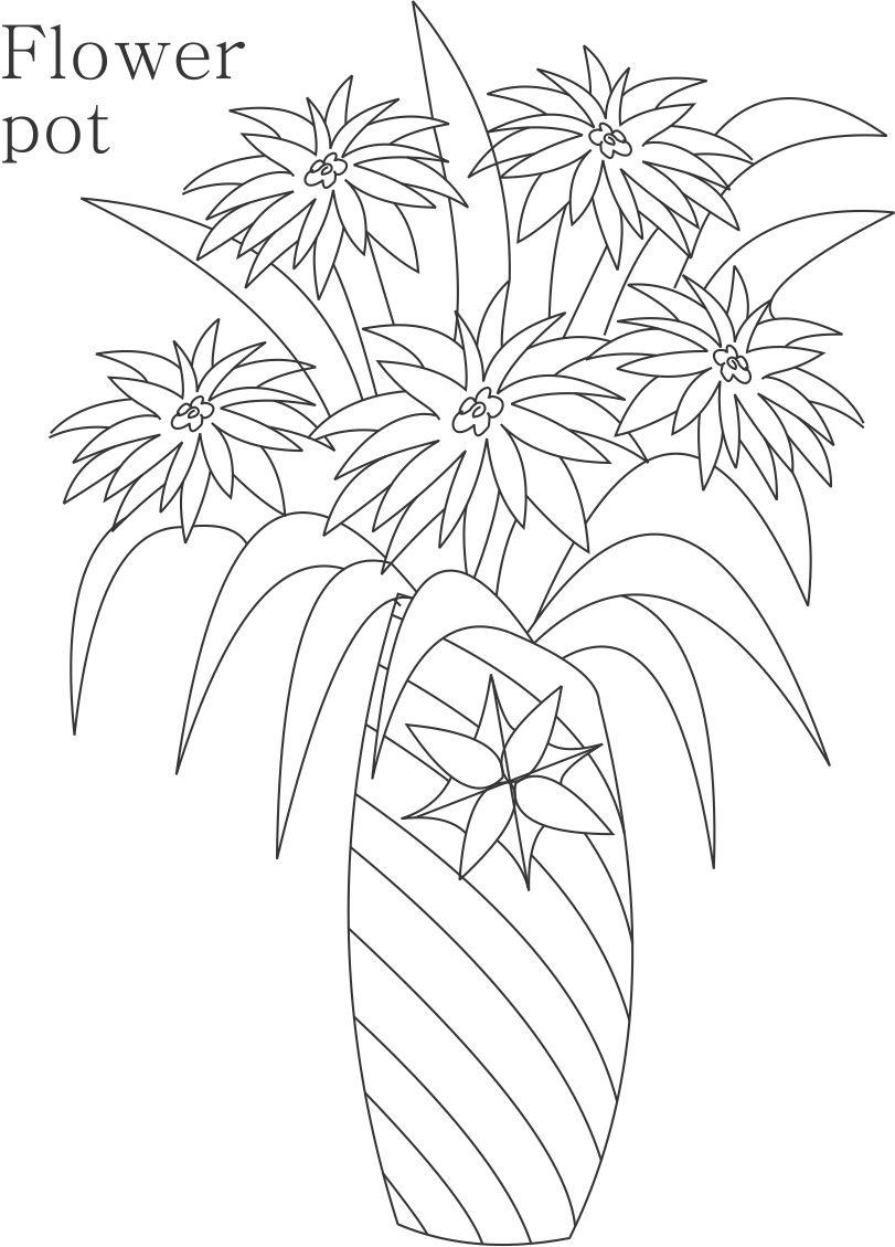 flower pot coloring printable page for kids 15 flower pot