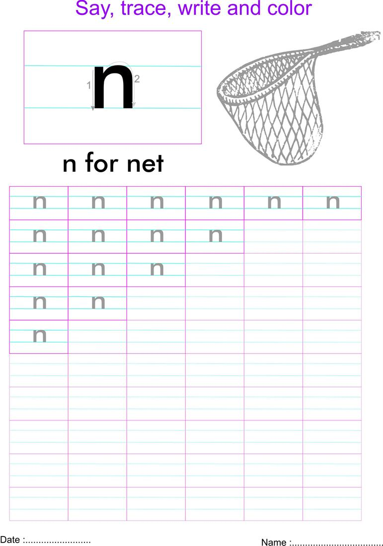 English Small Letter N Worksheet