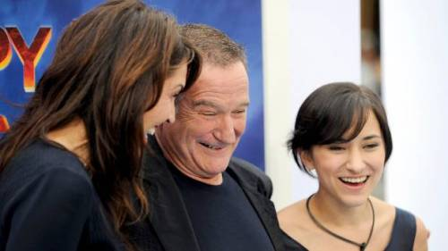 """Robin Williams , wife Susan Schneider and their daughter Zelda Williams at the premiere of """"Happy Feet Two"""" in, November 2011."""