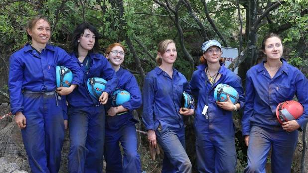 The women of the Rising Star Expedition. The cavers had to be able to slither through a 17cm opening so six slim women - all cavers with archaeological experience - were chosen for the team.
