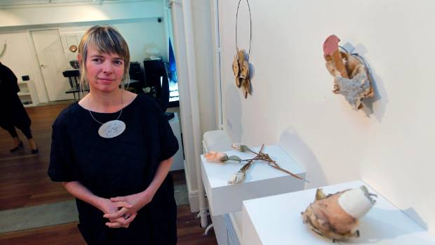 Jeweller Amelia Pascoe with works made out of old shoes.