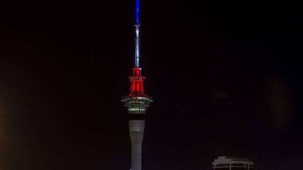 The colours of the French flag lit up Auckland's Sky Tower.